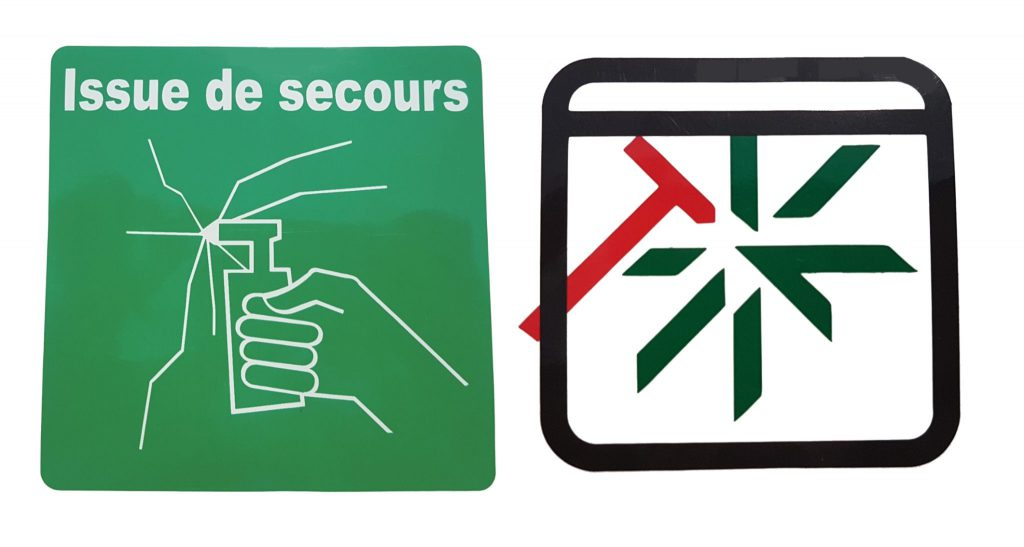 Image Adhesifs : Issue de secours / Brise glace
